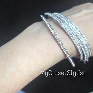 Pave Rhodium Silver Bangle Bracelet NIB Cuff nadri